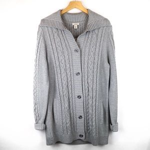Lands End gray cable knit button cardigan medium